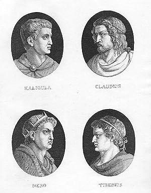 Kaligula, Claudius, Nero, Tiberius, 4 Porträts auf