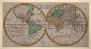 WELTKARTE *-* Typus Orbis Terrarum, Kupferstich aus: Philipp Cluver