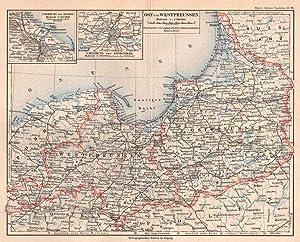 PREUSSEN ; Ostpreussen und Westpreussen, Farblithographie, Meyer,: Meyer