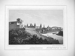 ASCHAFFENBURG: Altstadt am Main mit dem Pompejanum *** um 1847, Stahlstich, 11x16 cm: Fritz ...