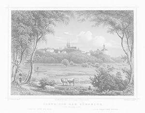 KLEVE/ Niederrhein: Gesamtansicht vom Flack ---- um 1850, Stahlstich, 11x16 cm: Rohbock/ Kurz