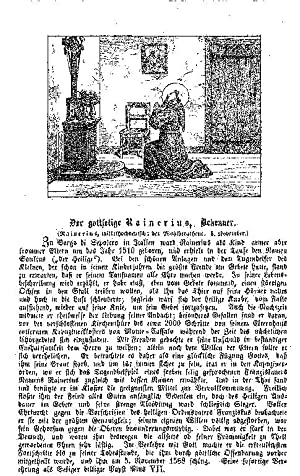 Rainerius, Bekenner, Seligendarstellung mit Legende - -: Link