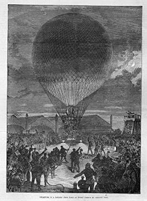 Ballon: Departure of a Balloon from Paris at night --- Holzstich, um 1870, 29x21 cm