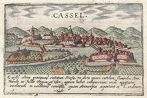 KASSEL: Gesamtansicht *** um 1600, Kupferstich, Abdruck aus Lazor a Varea: Universus terrarum orbis...