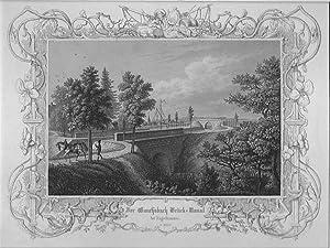 KUGELHAMMER/ Feucht: Gauchsbach-Brück-Kanal des Ludwig-Donau-Main-Kanals mit Blick auf den Ort *** um 1840, Stahlstich, 19x25 cm