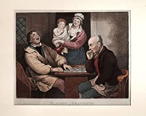 Damespiel: Playing at Draughts **.** Kupferstich, um 1780, dekorativ koloriert, 17x23 cm Bildformat