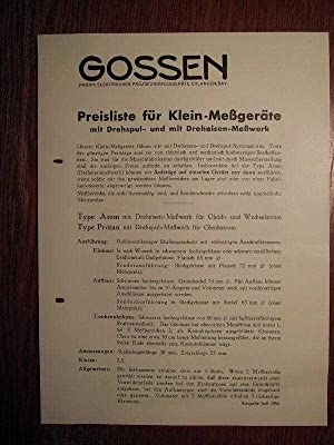Prospekt Gossen Liste K - Preisliste für: P. Gossen +