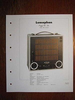 Archiv des RundfunkMuseums - Lumophon Piggi BT.36: Deutsches Rundfunk-Museum e.V.