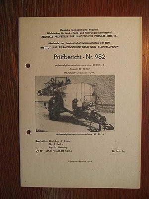 Aufsattelpflanzenschutzmaschine Kertitox Favorit KF 20/18 - Mezögep: Zentrale Prüfstelle für