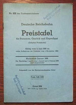 Deutsche Reichsbahn - Preistafel für Personen, Gepäck: DR Reichsbahndirektion Erfurt