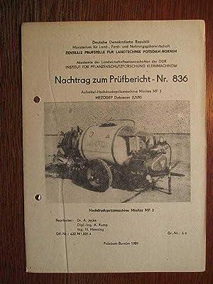 Aufsattel Hochdruckspritzmaschine Minitox MF 3 - Mezögep: Zentrale Prüfstelle für