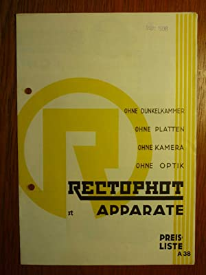 Rectophot - Apparate - Preisliste A 38: Rectophot - Apparate