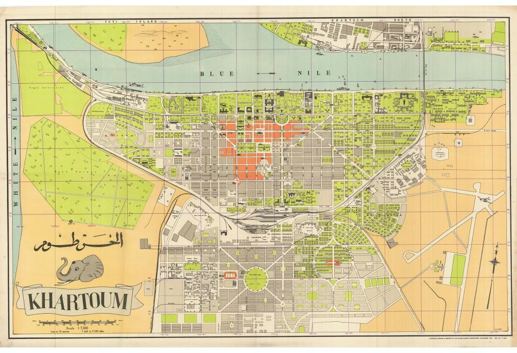 KHARTOUM SUDAN By Sudan Survey Department Lithography In Colour With Original Printed Indigo Grid Over Very Good Soft Folds 65 X