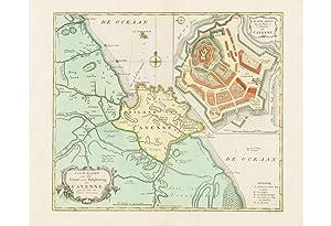 CAYENNE, French Guyana: Land-Kaart van het Eiland: Izaak TIRION (d.