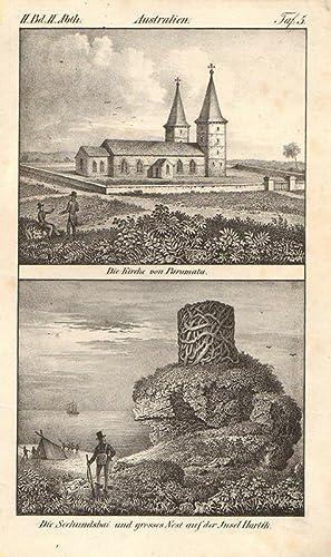 Australien. Die Kirche von Paramata. Die Seehundsbai: ca 1840. Lithographie,