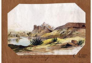 INDIA - RAJASTHAN   ORIGINAL WATERCOLOUR VIEW - KUMBHALGARH FORT, FORT & TOWN OF  MARWAR