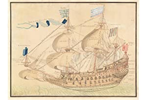 MARITIME ART / FRENCH NAVAL SHIP: [UNTITLED FINE MANUSCRIPT VIEW OF A 17TH CENTURY FRENCH NAVAL S...