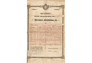 JUDAICA: Passport for Rafael Silberstein from Plozka, Ukraine, by Serbian regent Mihailo Obrenovi...