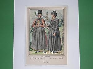 """Aus dem Thale Montafon - Aus dem Bregenzer Walde."""" (Zwei Frauen in Sonntagstracht). /&#..."""