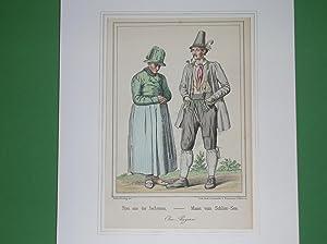 """Frau aus der Jachenau - Mann vom Schlier-See."""" //: Jachenau / Schliersee - Tracht"""