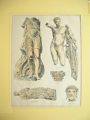 Nike des Paionios, Hermes des Praxiteles, 1 Säulenkapitell, 1 Bronzekopf, Figur einer rö...