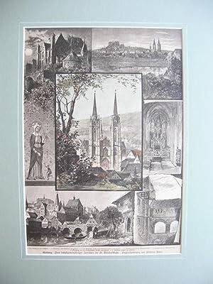 Marburg - 7 Ansichten auf einem Blatt (u.a.: Marburg vom Bahnhof aus gesehen) //: Marburg...