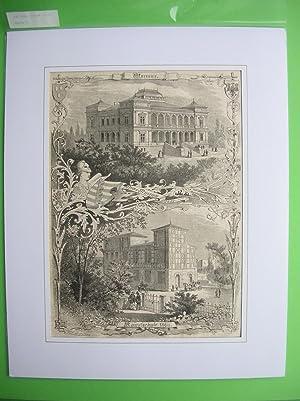 Neues Museum und Kunstschule in Weimar. 2 Ansichten auf einem Blatt. //: Weimar/Thüringen...