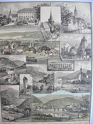 Eberbach - Erbach. (12 Ansichten auf einem Blatt) //: Odenwald-Bahnlinie)