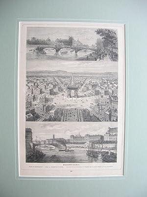 Brücke des Tuileriengartens; Platz und Triumphbogen de l'Etoile; die Quais de la Gre&...