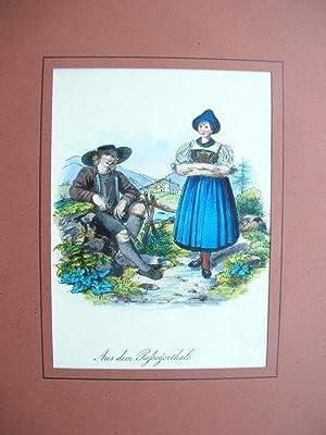 """Aus dem Paßeyerthale."""" - Junges Paar in Tracht //: Passeiertal /Südtirol)"""