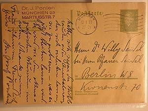 an den Schriftsteller Willy Seidel; dat.: 12. 1. 33 //: Eigenh. Postkarte mit ...