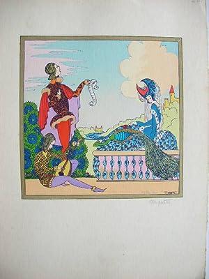 Mittelalter-Szene mit Liedsänger und Burgfräulein //: Miquette)