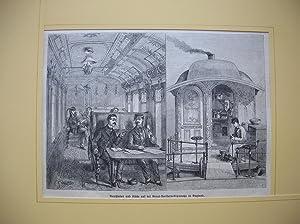 Rauchsalon und Küche auf der Great-Northern-Eisenbahn in England.: Speisewagen /Rauchsalon)