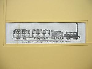 Eine Dampfmaschine mit einer Reihe von Reisewagen.: Eisenbahn