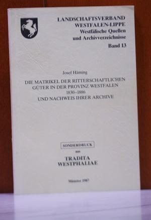 Die Matrikel der Ritterschaftlichen Güter in der: Häming, Josef: