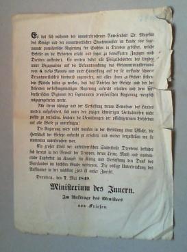 Flugblatt, dat. Dresden, den 7. Mai 1849, typographisch gezeichnet im Auftrag des Innenministers ...