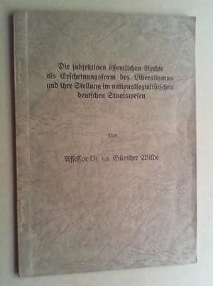 Die subjektiven öffentlichen Rechte als Erscheinungsform des Liberalismus und ihre Stellung im...