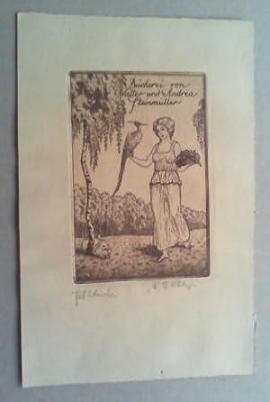 Bücherei von Walter und Andrea Steinmüller. Radierung, (1919), in der Platte vom Kü...