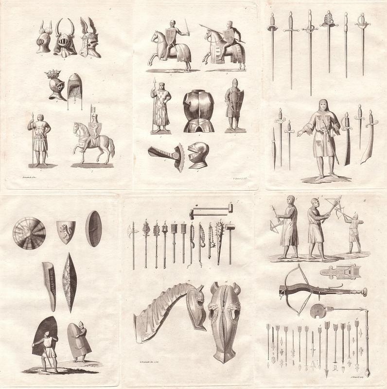 Ausrüstung Waffen Ritter Mittelalter Original Radierungen Von