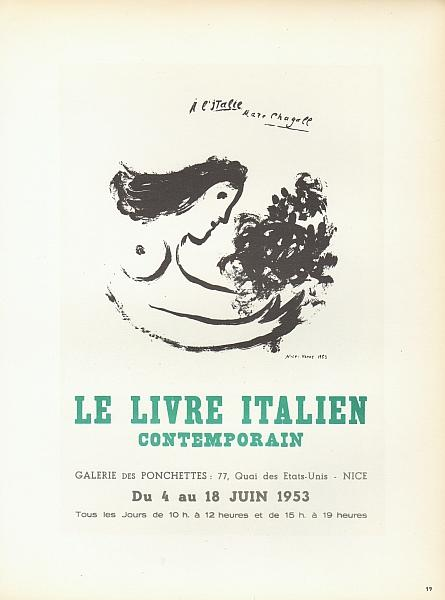 "A l'Italie Marc Chagall"". Le Livre Italien: Chagall, Marc:"