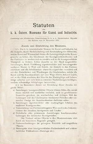 Statuten des k.k. Österr. Museums für Kunst: K.k. Österreichisches Museum