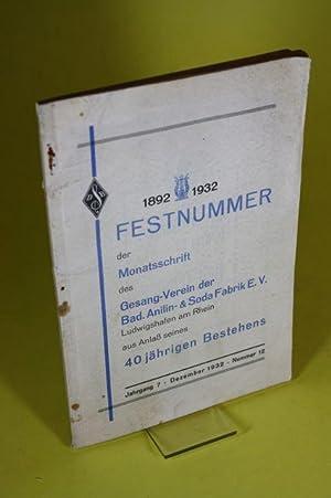Festnummer der Monatsschrift des Gesang-Verein der Bad.: o.A