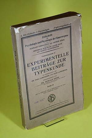 Experimentelle Beiträge zur Typenkunde (Band III) - Zeitschrift für Psychologie und ...