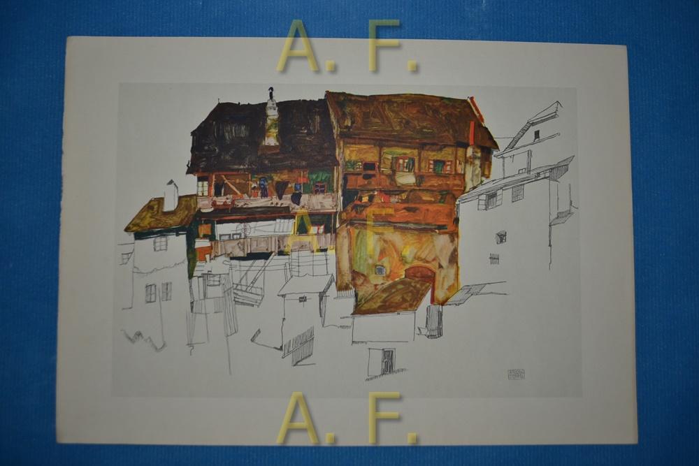 Alte Häuser in Krumau. 1914. Bleistift und: Schiele, Egon:
