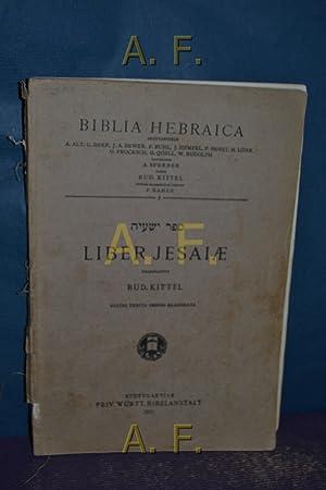 Liber Jesaiae : Bilbia Hebraica, 7.: Kittel, Rud.: