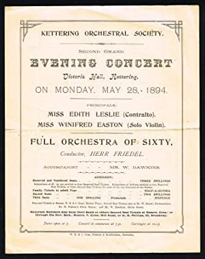 Kettering Orchestral Society Second Grand Evening Concert.1894