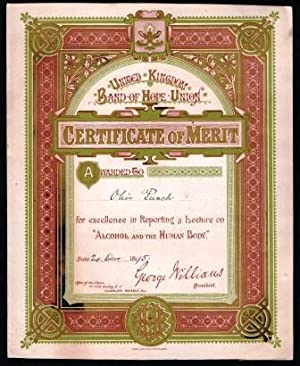 United Kingdom Band of Hope Union; Certificate of Merit, 1895