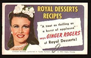 Royal Dessserts Recipes with Ginger Rogers, Book: STANDARD BRANDS INC