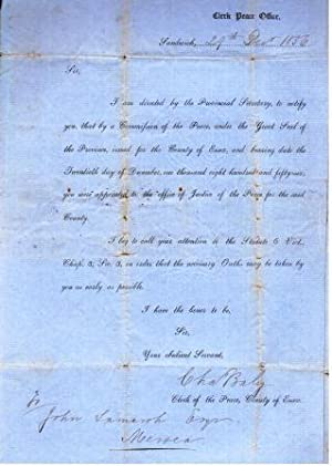 Colonial-era Legal Document appointing a Justice of the Peace, 1856