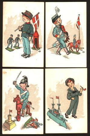 Lot of 4 Antique Danish Postcards of Edwardian Boys with Toys